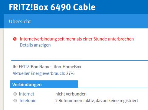 Vodafone Kabel – eigener Router – Internet nicht mehr verfügbar